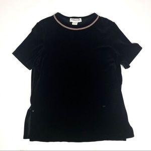 Sonia Rykiel sz Large Black Velour Top Gold Trim